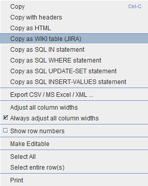 Copy data as JIRA table from the SQuirreL SQL Client
